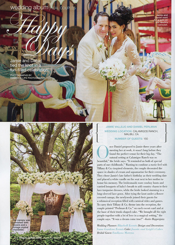 Fun bride and groom wedding portrait on the carousel at Calamigos Ranch, and their beautiful white peony-adorned ceremony chuppah